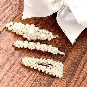 Set of 3 Faux Pearl Barrettes Brand New